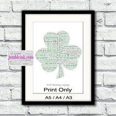 What Irish Mammy's Say Shamrock With Irish Sayings and Phrases by JumbleinkArt on Etsy Irish Sayings, Sayings And Phrases, Irish Quotes, Irish Art, Frame Sizes, Frame Shop, Word Art, Ireland, Handmade Items