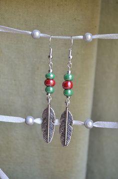 Boucles d'oreilles style indien avec plumes et perles