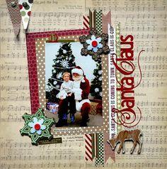 papercraft scrapbook layout with Santa Claus Christmas Scrapbook Layouts, Scrapbook Paper Crafts, Christmas Layout, Paper Crafting, Scrapbook Sketches, Scrapbook Page Layouts, Baby Scrapbook, Scrapbook Cards, Scrapbook Photos