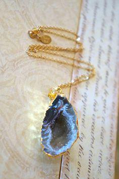 Swirled Brown Raw Geode Half Necklace - Druzy Jewelry - Geode Jewelry