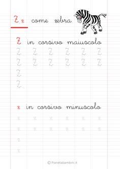 Schede di pregrafismo di tutte le lettere dell'alfabeto (a-z) in corsivo e stampatello da stampare per bambini della scuola dell'infanzia e primaria (prima classe) Calligraphy For Kids, Study Skills, Primary School, Projects For Kids, Alphabet, Homeschool, Education, Words, David