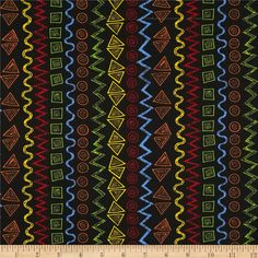 Child's Play Graphic Stripe Multi/Black from @fabricdotcom  This cotton print fabric is perfect for quilting, apparel and home decor accents. Colors include blue, red, yellow, green and orange on a black background. The stripe runs parallel to the selvedge as pictured.