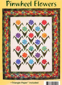 Pinwheel Flowers    Pieced  Wall Quilt Pattern