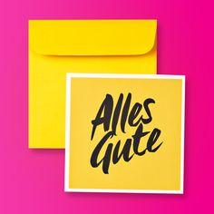 """Typografische Design Glückwunschkarte Gelb """"Alles Gute"""" quadratisch inkl. farblich passendem Umschlag"""