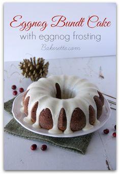 Exquisitely moist and lightly spiced Eggnog Bundt Cake with Eggnog Frosting | Bakerette.com