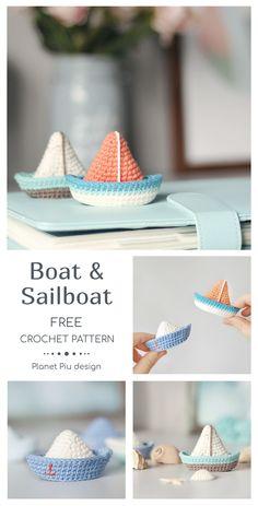Boat and Sailboat Minion Crochet Patterns, Minion Pattern, Crochet Doll Pattern, Amigurumi Patterns, Tutorial Crochet, Knitting Patterns, Crochet Boat, Cute Crochet, Crochet Crafts