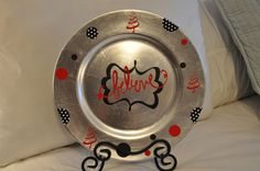 Christmas Decorated Vinyl Charger Plate by MakeitMyDesign on Etsy https://www.etsy.com/listing/114155925/christmas-decorated-vinyl-charger-plate