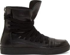 Krisvanassche - Black Multi-Lace High-Top Sneakers