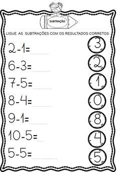 Atividades de Subtração Toddler Learning Activities, Math Activities, Kids Learning, Kindergarten Math Worksheets, Alphabet Worksheets, Math Subtraction, Preschool Writing, Reading Comprehension Worksheets, Math For Kids