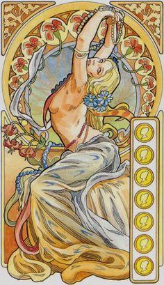 7 d'écus - Tarot art nouveau par Antonella Castelli