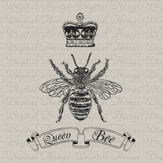 Queen Bee Crown Script Digital Download for Iron by DigitalThings, $1.00
