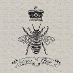 Queen Bee Crown Script Digital Download for Iron by DigitalThings, $1.00