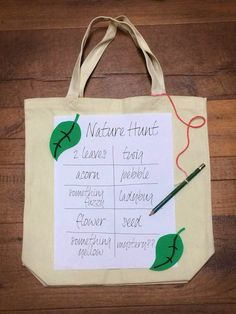 Send your kids on an outdoor scavenger hunt to find as many of the natural items that you have listed.  Attach a pen or pencil to their collection bags so that they can keep track of the treasures they've found!