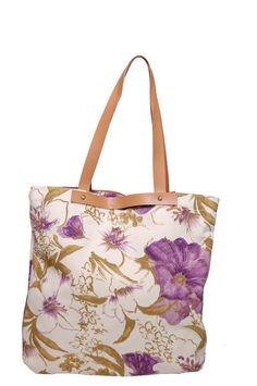 Bolso tela flores lilas