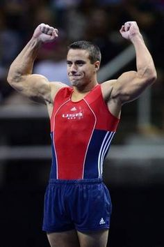 Jake Dalton celebrates after finishing his floor exercise routine at the finals of the 2012 USA Gymnastics Olympic Trials.  He finished the competition atop the event standings.