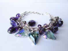 Blue Crystal Hearts BraceletPurple by DelabudCreations on Etsy Funky Jewelry, Unique Jewelry, Handmade Bracelets, Handmade Gifts, Heart Bracelet, Blue Crystals, Crystal Bracelets, Friends In Love, Mother Gifts