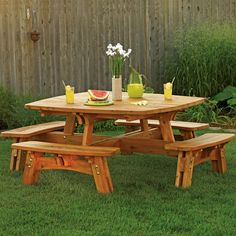Square Picnic Table Plan - I made this table out of treated dimensional pine. I did have to rip all of the boards to width except the table top where I used 5/4 deck boards. The finished table weighs a lot! ~300lb+ fairly easy to follow plans. I also made a hole for an umbrella thatis really nice.