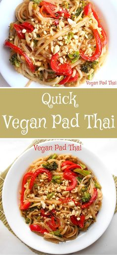 A quick and simple pad Thai recipe that is perfect for a quick weeknight dinner. This is a vegan recipe that even meat lovers and vegetarians can enjoy. Perfect vegan comfort food too. Thai Recipes, Vegetable Recipes, Asian Recipes, Whole Food Recipes, Vegetarian Recipes, Cooking Recipes, Healthy Recipes, Thai Cooking, Quick Vegan Meals