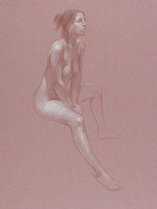 Leaning Figure (Claudia) by Dan Gheno, 2007, graphite, 24 x 18.