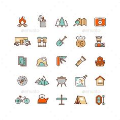 Camping and Hiking Icons. Download here: https://graphicriver.net/item/camping-and-hiking-icons/16420685?ref=ksioks