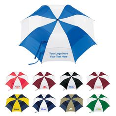 """Custom 58 Inch Arc Vented Golf Umbrellas with 5 Colors: Available Colors: Black/White, Navy/White, Green/White, Red/White, Royal/White. Imprint Area: 6"""" H x 8"""" W. Product Size: 6"""" x 16"""" x 22"""" Product Weight: 52 lbs. Packaging: 36. #customumbrella #promoproduct #customgolfumbrella"""