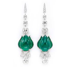 A Pair of Emerald and Diamond Ear Pendants, by Viren Bhagat