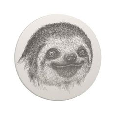 Illustrated Sloth Face Coaster - home gifts cool custom diy cyo