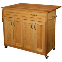 Mid size craftsman with drop leaf and is paintable. On castors.