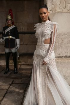 lior charchy 2019 bridal illusion long sleeves high neckline fully embellished side cutouts a line fit flare wedding dress lace romantic boho chic moden mv -- Gorgeous Lior Charchy Wedding Dresses Lace Wedding Dress With Sleeves, Fit And Flare Wedding Dress, Gowns With Sleeves, Lace Sleeves, Dress Lace, Bride Gowns, Wedding Gowns, Wedding Mandap, Wedding Lace