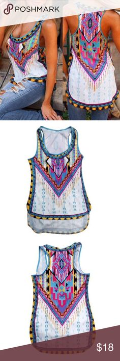 """Tribal pattern top. Beautiful tribal pattern on this high low top. Cotton blend. Small bust: 84cm/33"""" Length: 76cm/29.9"""". Medium bust: 86cm/33.8"""" Length 78cm/30.7"""". Large bust:90cm/35.4"""" Length 78cm/30.7"""". Tops Tank Tops"""