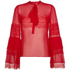 Giambattista Valli silk lace blouse (€1.210) ❤ liked on Polyvore featuring tops, blouses, red, silk blouse, red silk blouse, red lace blouse, lacy tops and red blouse