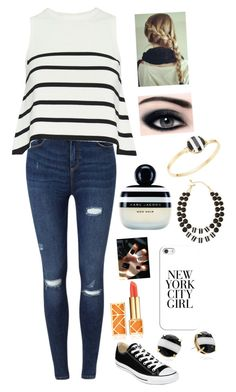 """The Right Stripe"" by awesomel4125 on Polyvore featuring Converse, Miss Selfridge, Cardigan, Casetify, Kate Spade, Marc Jacobs and Tory Burch"