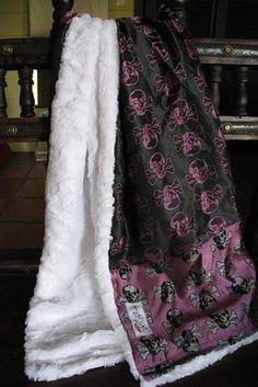 "Items similar to Pink Skull Bocade Baby Blanket ""Surfer Chic Vic"" on Etsy Goth Baby, Pink Skull, Baby Girl Bedding, Skull Fashion, Skull Decor, Gothic Home Decor, Gothic House, Things To Buy, Baby Love"
