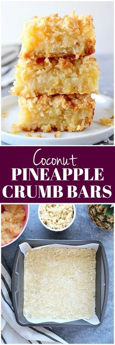 These Pineapple Coconut Crumb Bars are easy, sweet and taste like tropical dessert. Crunchy coconut crumb topping and gooey pineapple filling make for irresistible combo! Tropical Desserts, Köstliche Desserts, Dessert Recipes, Bar Recipes, Eat Dessert First, Oreo Dessert, Dessert Bars, Cake Bars, Dessert Simple