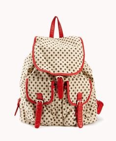 Polka Dot Backpack | FOREVER21 Do you prefer #PolkaDots or floral print? #Backpack #Accessories #Bag #FauxLeather