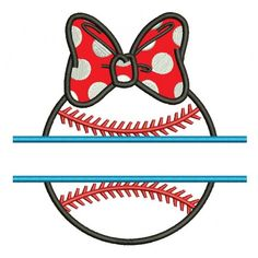 Baseball Girl With a Bow Split Applique Machine Embroidery Digitized Design Pattern #Baseball #embdoidery #appliques #split