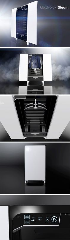 The Electrolux Steam is a compact clothing cabinet that instantly refreshes clothes without using the same amount of water or energy as conventional washer/dryers.