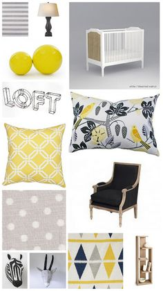 Grey and Yellow Nursery Decor, Gender Neutral Nursary