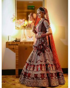 bollywoodculture - Red Bridal Lehenga with exquisite embriodery