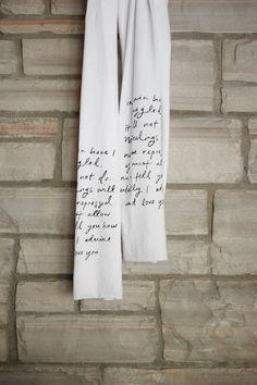 Mr. Darcy proposal scarf - Jane Austen. $ 22.00, via Etsy.