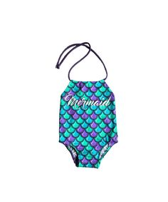 af8477b116 Girls One Piece Swimsuit ~ Toddlers Halter Bathing Suit ~ Toddler Girl  Swimsuit ~ Mermaid Print Swim