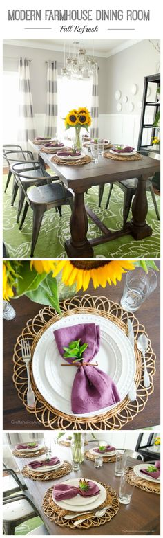 Beautiful Fall tablescape for a Modern Farmhouse Dining Room || Love the plum color with the bright yellow sunflowers!