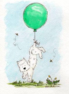 Westie Dog Art Print Carried Away Westie 5x7 by JasperAndRuby, $9.00