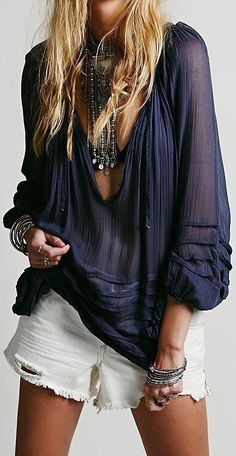 Hippie boho bohemian gypsy hippy style shirt in dark blue deep color. For more http://follow www.pinterest.com/ninayay%C2%A0and stay positively #pinspired #pinspire /ninayay/