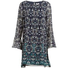 Max Studio Floral Print Dress, Navy/Topaz (£60) ❤ liked on Polyvore featuring dresses, long sleeve floral dress, navy maxi dress, long-sleeve maxi dress, navy blue maxi dress and long-sleeve shift dresses