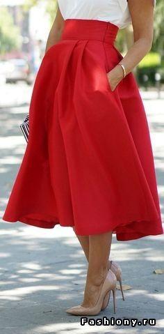 Юбка-солнце до середины голени или колена (в стиле 50-х Dior)