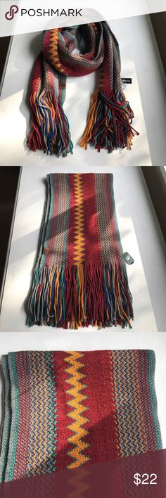"Roots colorful winter scarf Roots (Canadian store) colorful winter fringe scarf, 100% acrylic, 70"" long - perfect condition never worn Roots Accessories Scarves & Wraps"
