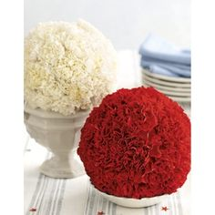 Try some OASIS® Floral Foam Shape – Standing Spheres for these red, white, blue flower balls for 4th of july