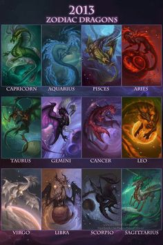 The lengendary zodiac dragons. No dragon has ever seen them since the great dragon and Dark Stars war. Rumor has it, the Zodiac dragons keep the world stable. Rumor also has it, the Dragon Gods created the Zodiacs to protect the world. Zodiac Star Signs, My Zodiac Sign, Zodiac Signs Animals, Astrological Sign, Chinese Zodiac Signs, Fantasy Creatures, Mythical Creatures, Art Zodiaque, Dragon Zodiac