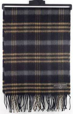 Softer Than Cashmere Plaid Striped Long Fringe Winter Scarf Shawl Wrap - 72x12 - Beige, Gray, Black